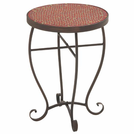 Benzara Distinctive Metal Red Mosaic Accent Table