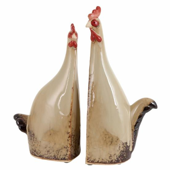 Woodland Imports Carbonized Ceramic Roosters - Set of 2
