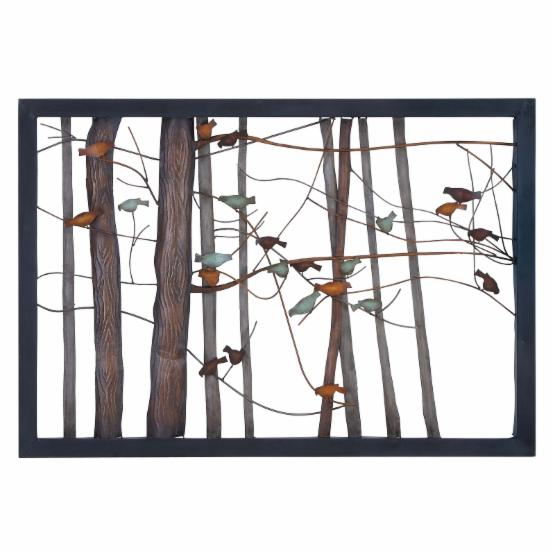 Woodland Imports Metal Birds and Trees Wall Plaque - 39W x 27H in.