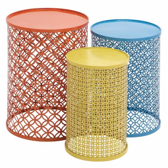 Benzara The Colorful Set of 3 Metal Tables