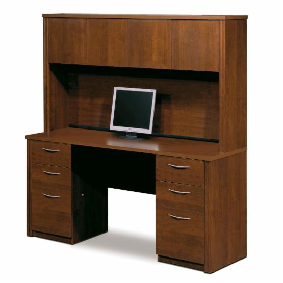 Bestar Embassy Credenza and Hutch Kit - Tuscany Brown