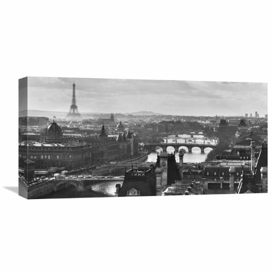 Global Gallery River Seine and the City of Paris Canvas Wall Art
