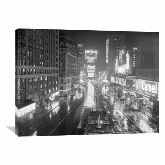 Global Gallery Rainy Night in Times Square NYC 1952 Wall Art