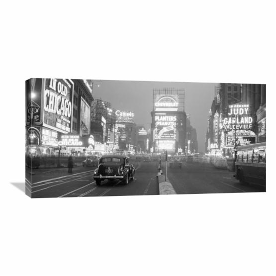 Global Gallery Times Square Illuminated by Large Neon Advertising Signs 1938 Wall Art