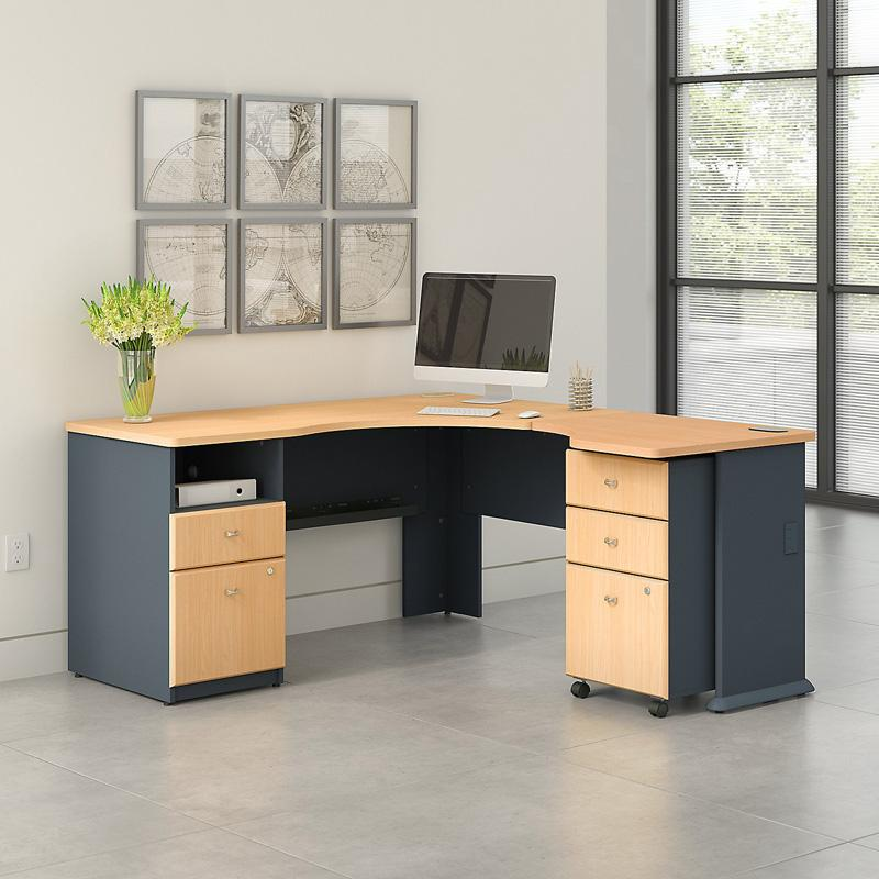 Office Connect Access L Shaped Corner Desk with Pedestal and Mobile Pedestal - ACS002BE