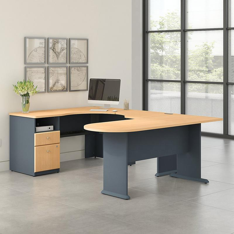Office Connect Access U Shaped Corner Desk with Pedestal - ACS003BE