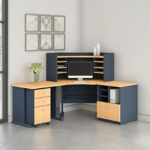 Office Connect Access Corner Desk with Hutch and Mobile Pedestal