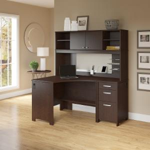 Office Connect Activate Corner Computer Desk Hutch and Pedestal