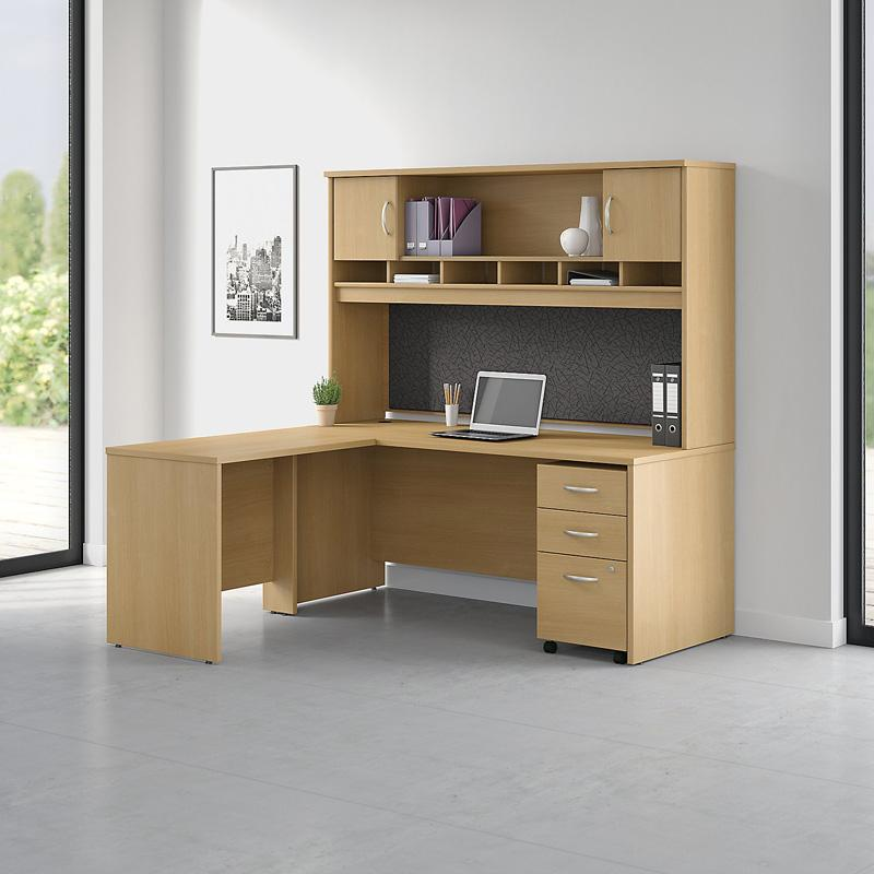 Office Connect Pro Office L Shaped Desk with Hutch and Mobile Pedestal - PRF003MA