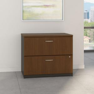 Series A 36 in. Lateral File in Sienna Walnut and Bronze