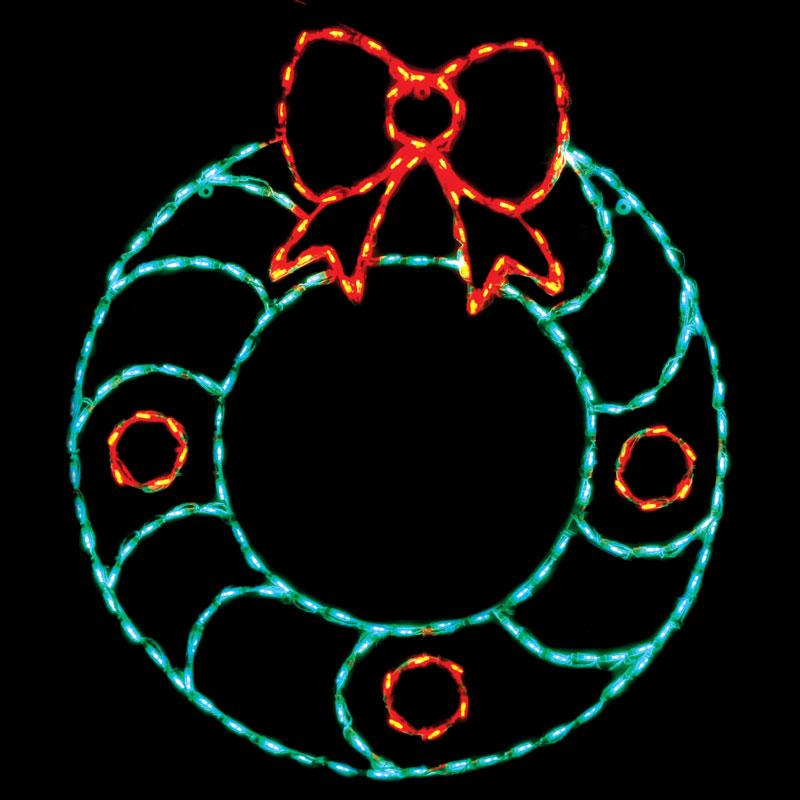 Brite Ideas 46 in. Outdoor LED Wreath with Bow Display - ...