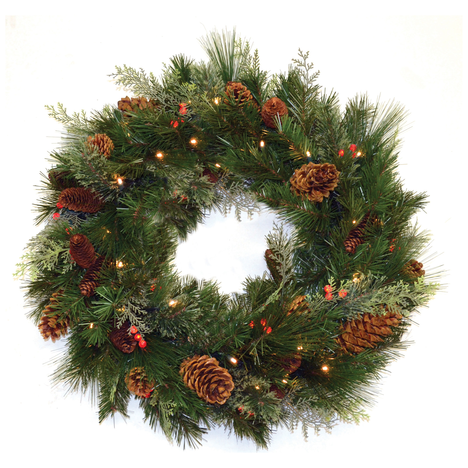 30 In. White Pine Pre Lit LED Wreath   Battery Operated