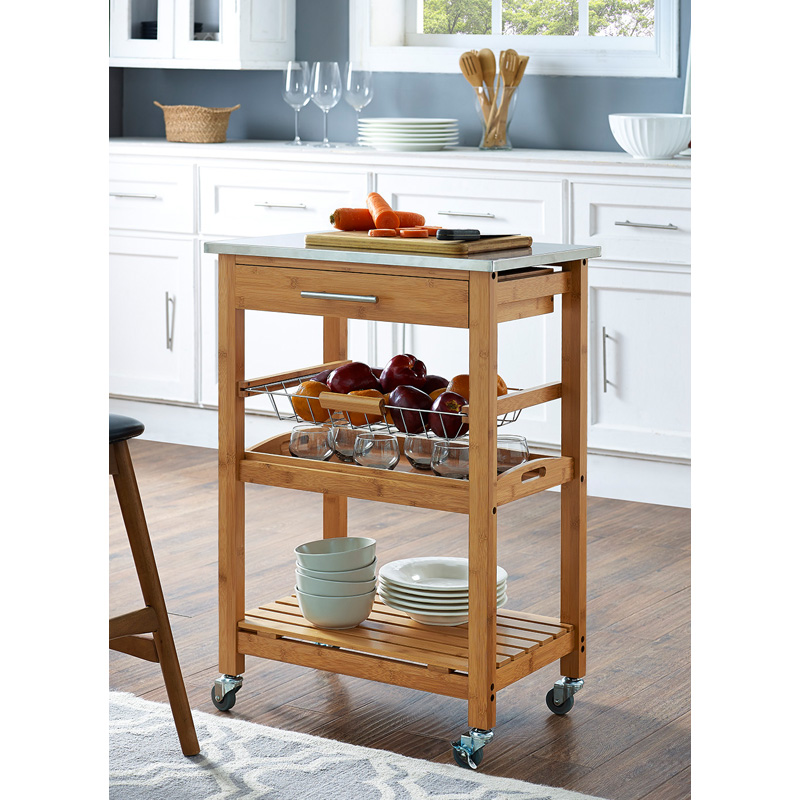 bamboo kitchen island boraam aya bamboo kitchen cart stainless steel top kitchen islands and carts at hayneedle 5248