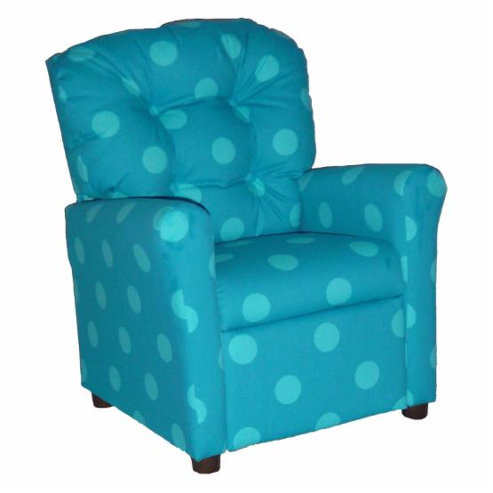 Brazil Furniture 4 Button Back Child Recliner - Turquoise Oxygen