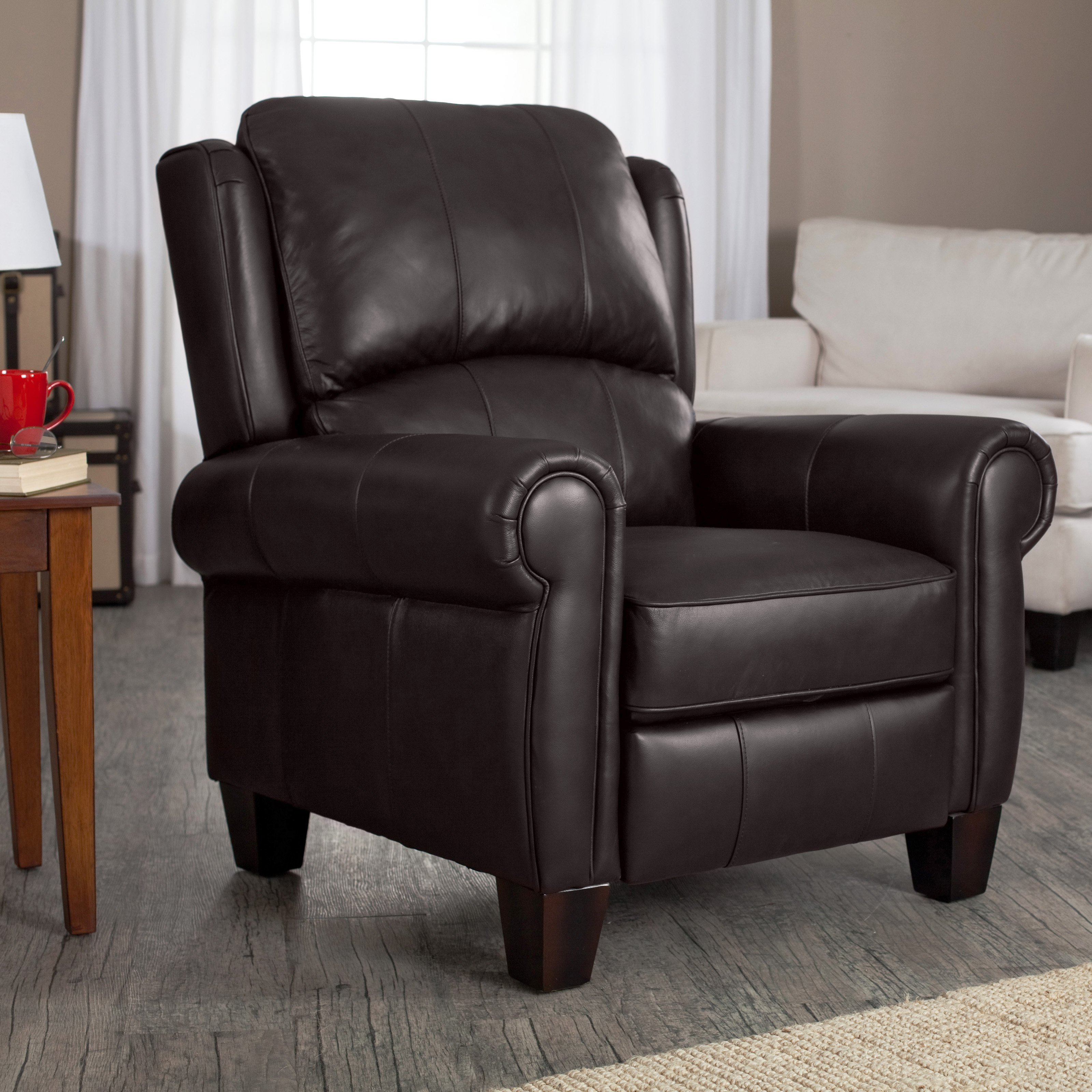 charleston leather push back recliner black accent chairs at hayneedle - Black Leather Recliner Chair