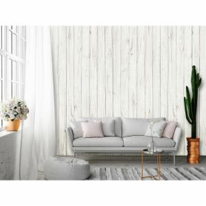Ideal Decor White Wooden Wall Mural