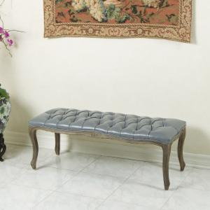 Best Selling Home Decor Furniture Max Leather Ottoman Bench - Gray