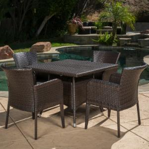 Best Selling Home Newport 5 Piece Wicker Patio Dining Set