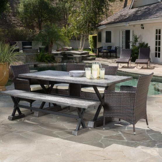 Best Selling Home Barbaro 6 Piece Wicker Patio Dining Set