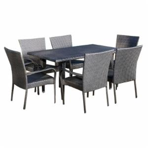 Best Selling Home Decor Furniture Jocelyn Wicker 7 Piece Rectangular Patio Dining Set