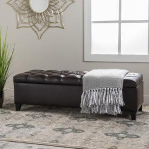 Best Selling Home Oliver Leather Storage Indoor Bench