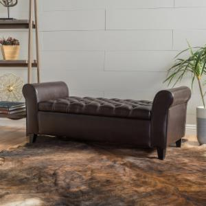 Best Selling Home Ultima Leather Armed Indoor Storage Bench