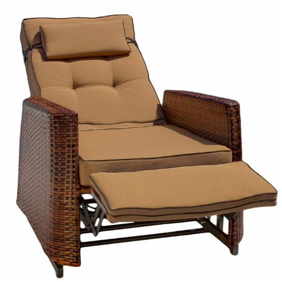 Outdoor Wicker Neutral Brown Recling Lounge Chair - Set of 2