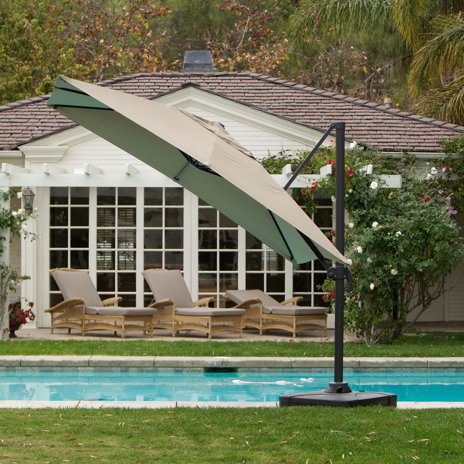 Best Selling Home Puebla 10 ft Cantilever f Set Patio Umbrella