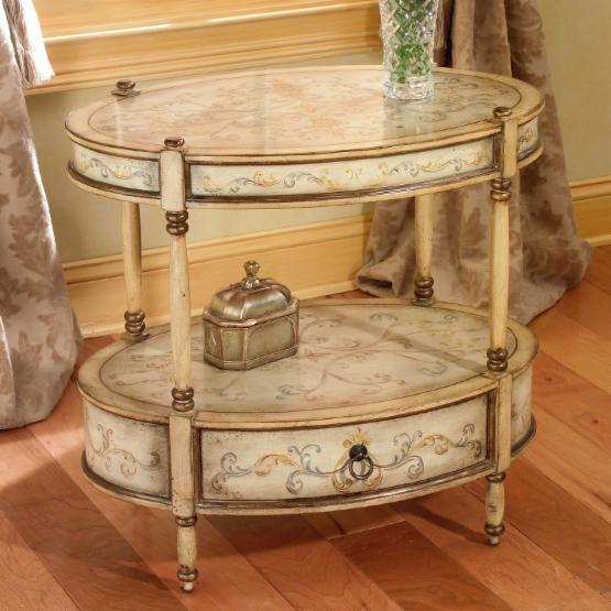 Butler Oval Accent Table - Tuscan Cream hand-painted