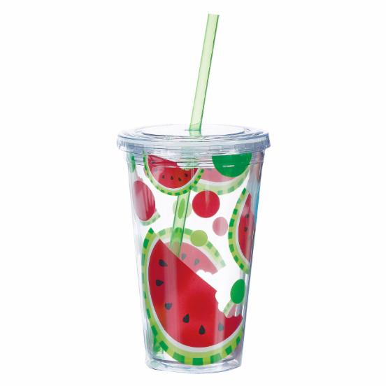 Boston Warehouse Watermelon 16 oz. Insulated Tumbler with Straw