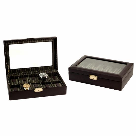 Bey - Berk Brown Leather 10 Watch Box with Locking Clasp