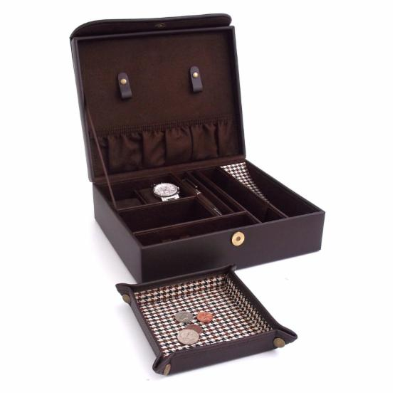 Brown Leather & Houndstooth Valet Case with Travel Valet - 10.35W x 3.5H in.