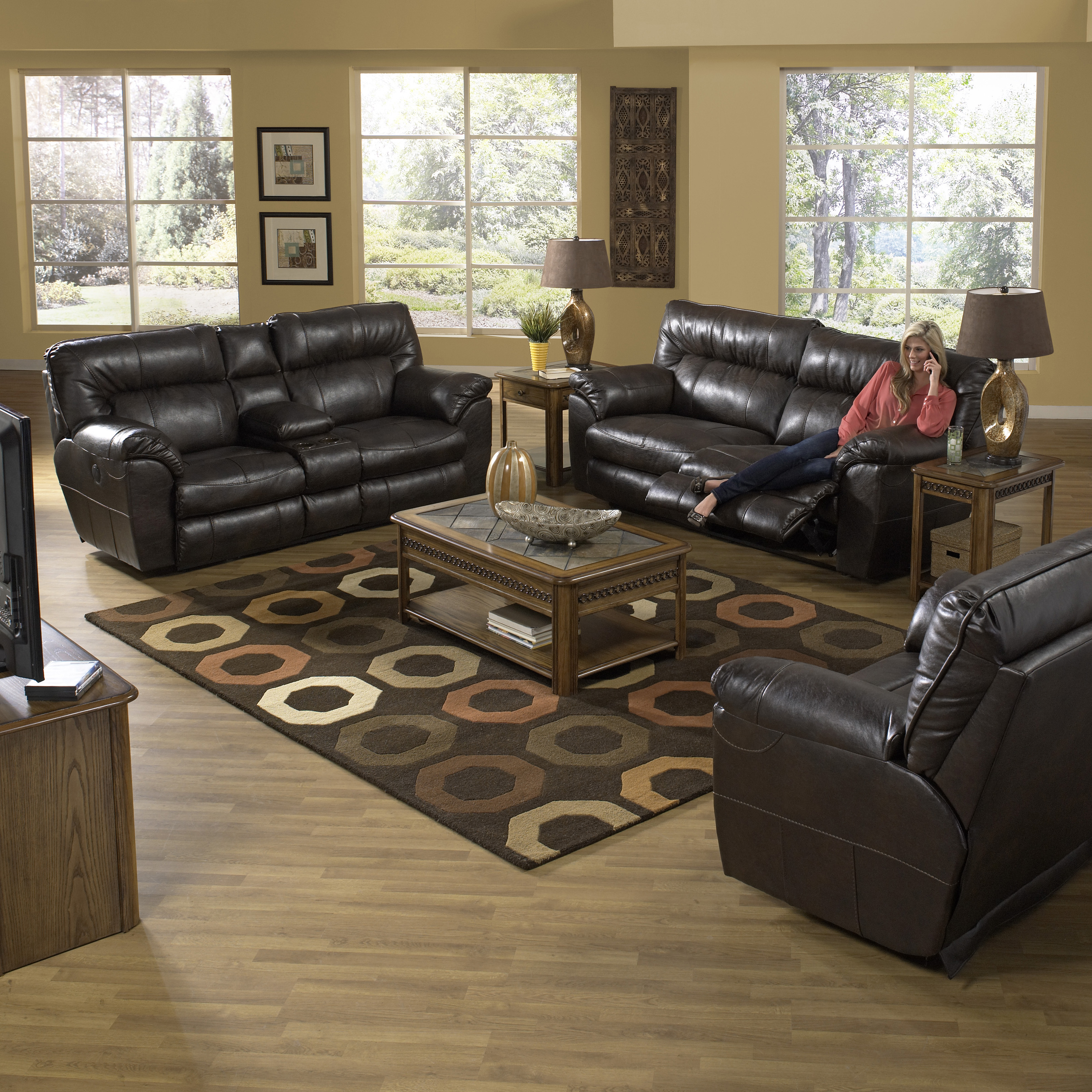 & Catnapper Nolan Leather Reclining Sofa Set - Goa | Hayneedle islam-shia.org