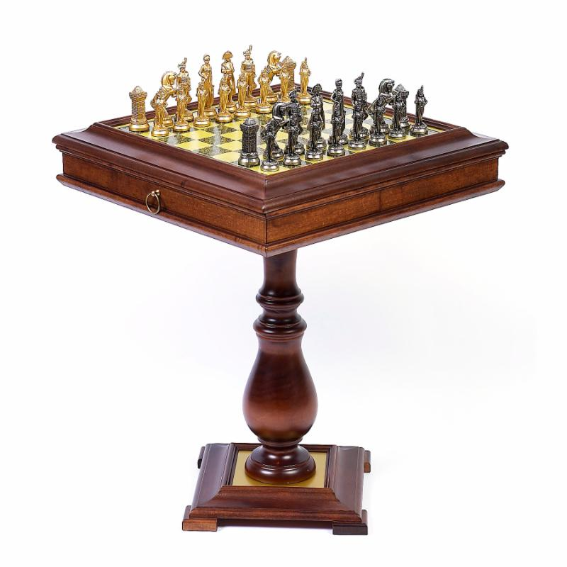 Cambor Napoleons Army Metal Chess Set on Wormwood Table -...