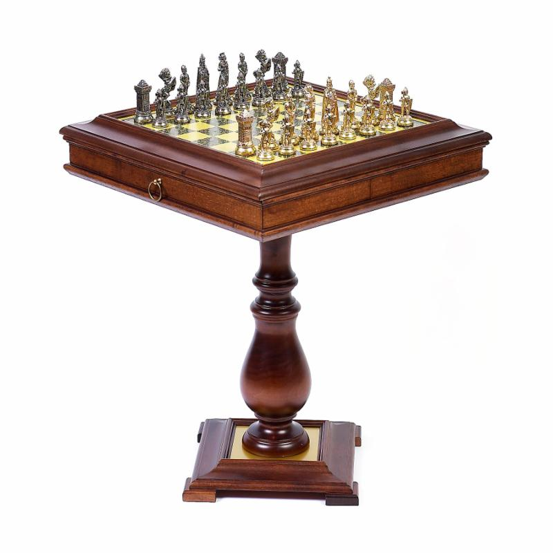 Cambor Victorian Metal Chess Set on Wormwood Table - CB190