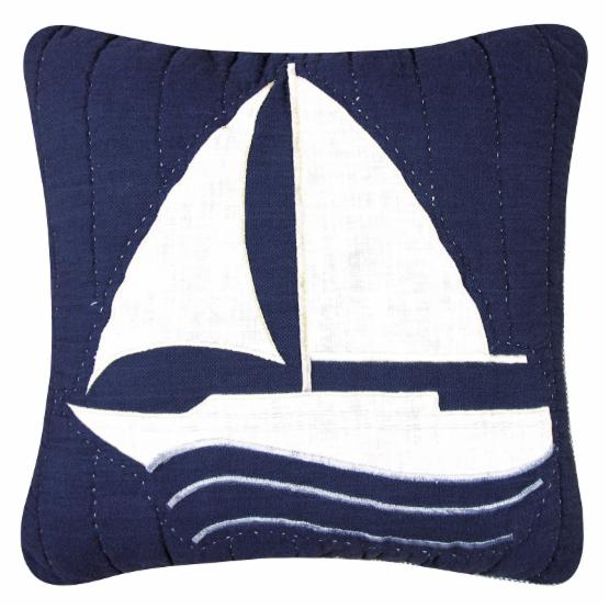 C&F Home Nantucket Dream 14 x 14 in. Patchwork Ship Pillow