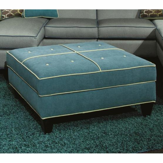 Chelsea Home Tiffany Square Upholstered Storage Ottoman - Jukebox Blueberry