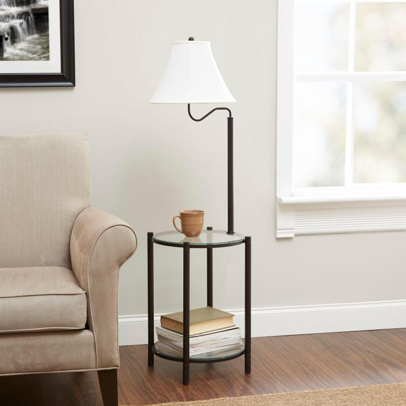 MAINSTAYS Glass End Table Lamp with CFL Bulb - F3254R-COM