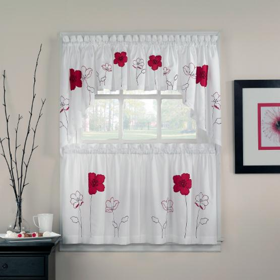 CHF Industries Poppy Garden Tailored Tiered Kitchen Curtain