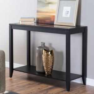 Shelby Glass Top Console Table with Quatrefoil Underlay
