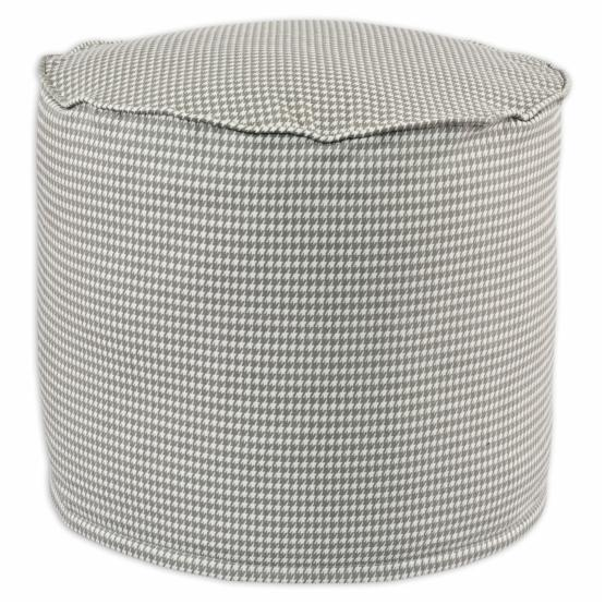 Brite Ideas Living Houndstooth Storm Twill Round High Corded Beads Hassock Ottoman