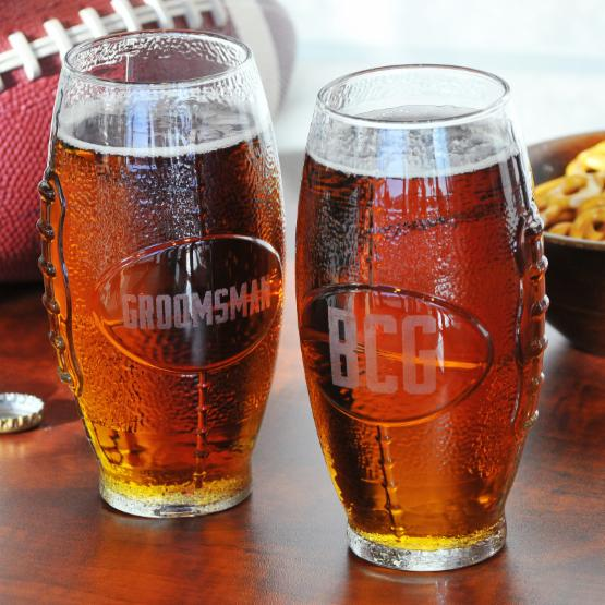 Cathys Concepts Personalized Glass Football Tumbler