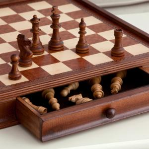 Camphor 19 in. Chess and Checkers Set with Storage