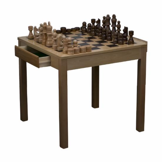 Beech Wood Chess/Checkers Table with Oversized Pieces