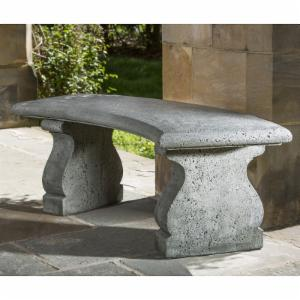 Campania International Provencal Curved Cast Stone Backless Garden Bench