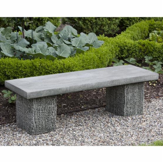 Campania International Reef Point Cast Stone Backless Garden Bench