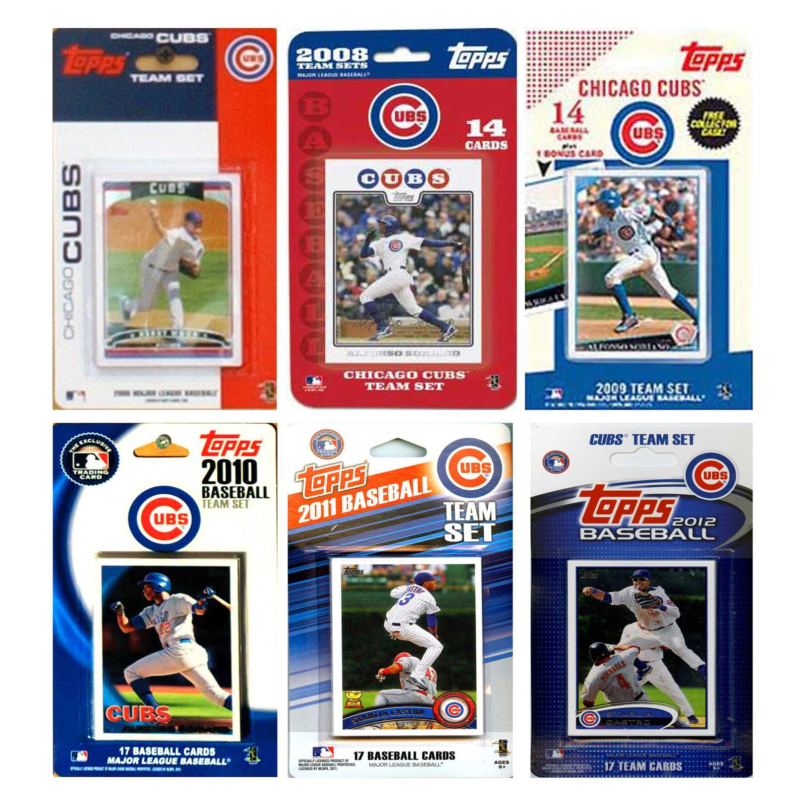 MLB Chicago Cubs 6 Different Licensed Trading Card Team S...