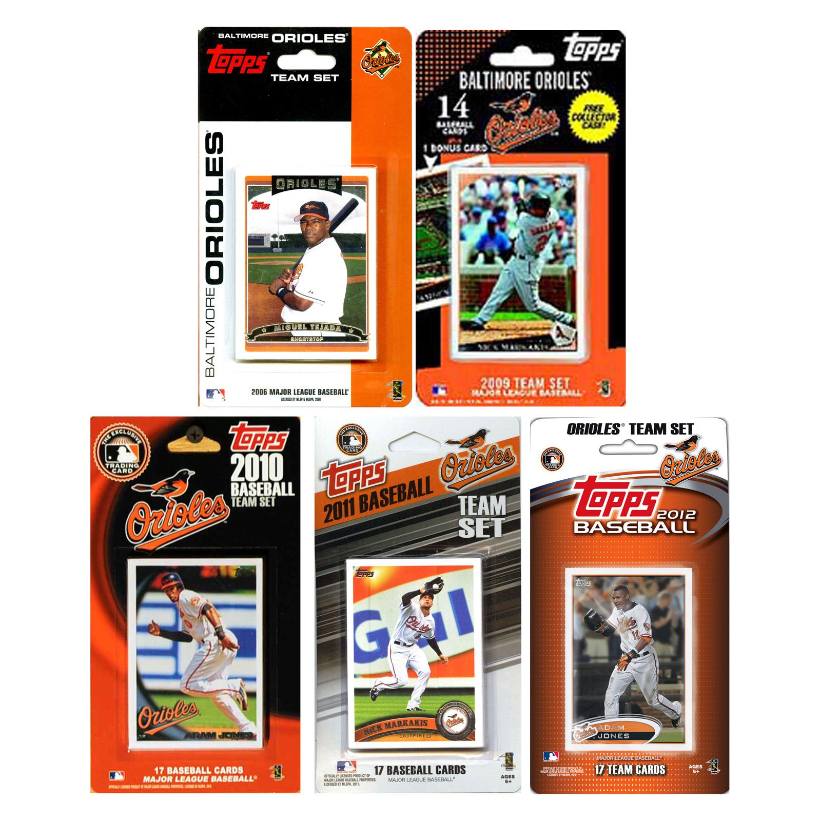 MLB Baltimore Orioles 5 Different Licensed Trading Card T...