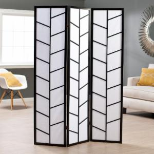 Climbing Branches 3-Panel Screen Room Divider - Black