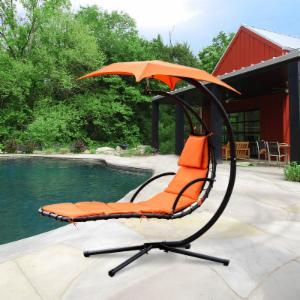 Cloud Mountain Hanging Chaise Lounger Chair with Arc Stand and Canopy